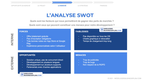 exemple analyse SWOT application mobile