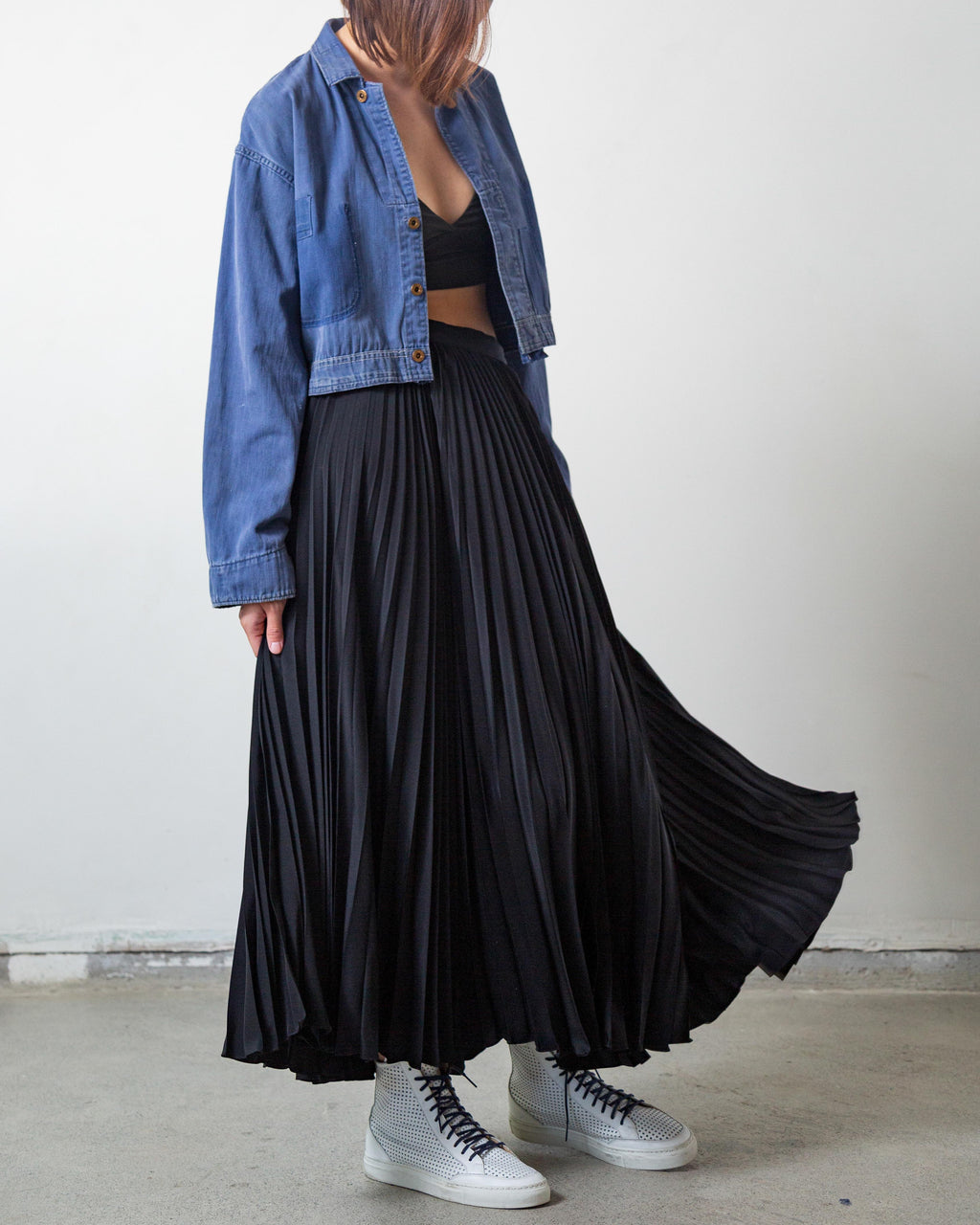 Ralph Lauren Pleated Silk Maxi Skirt