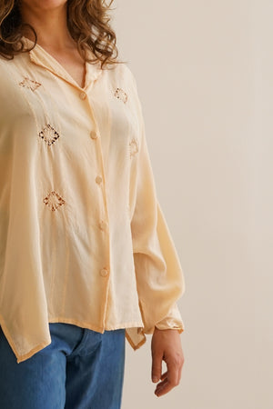 Embroidered Silk Top in Peach