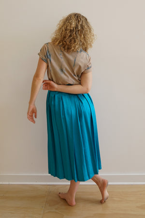 Turquoise Pleated Midi Skirt