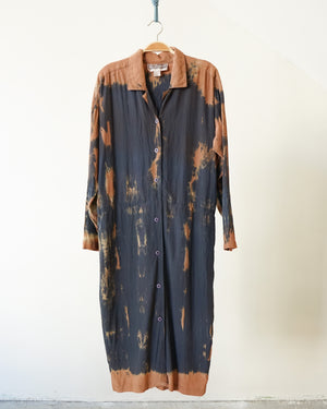 Tied and Naturally Dyed Silk Shirtdress
