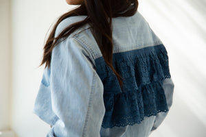Reworked Denim Ruffle Back Top