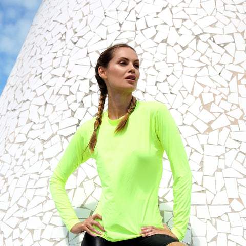 Top Workout Activewear Long Sleeve Neon Yellow
