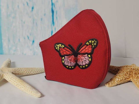 Face Mask, Made in USA, Red Butterfly