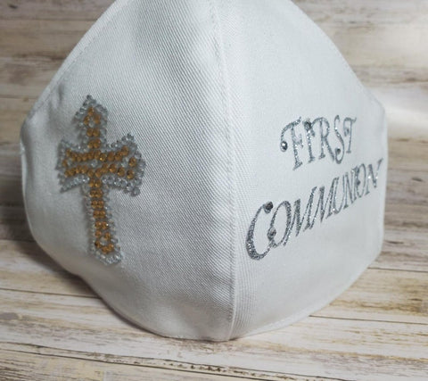 First Communion Mask Made in USA, Face Mask, Fashion Face Mask, Mask for Women, White Mask