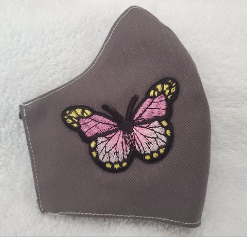 Face Mask, Made in USA, Pink Butterfly