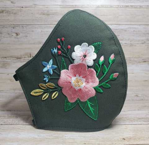 Flower Mask Made in USA, Fashion Face Mask, Mask for Women, Green Mask