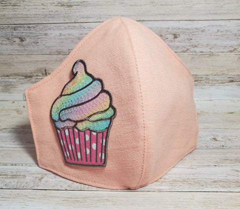 Face Mask, Made in USA, Cupcake Butterfly Mask, Salmon Mask