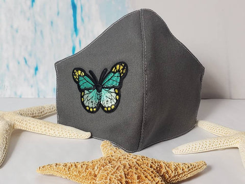 Face Mask, Made in USA, Turquoise Butterfly