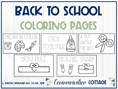 Back to School Coloring Pages (PDF)