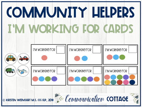 Community Helpers: I'm Working For Cards