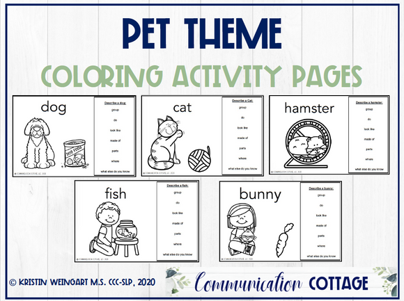 Pet Coloring Activity Pages