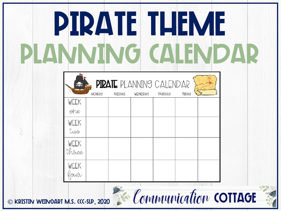 Pirate Theme Planning Calendar