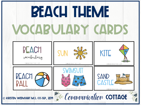 Beach Vocabulary Cards