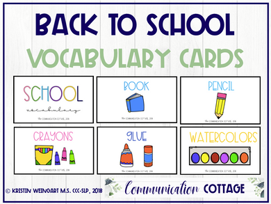 Back to School Vocabulary Cards (PDF)