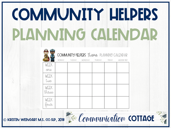 Community Helpers: Planning Calendar