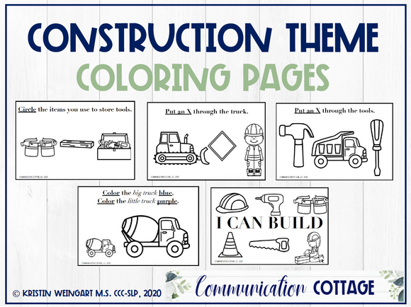Construction Theme Coloring Pages