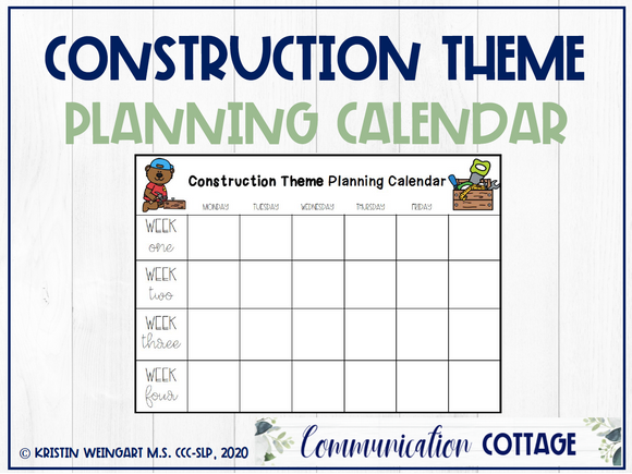 Construction Theme Planning Calendar