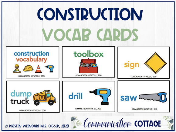 Construction Vocabulary Cards