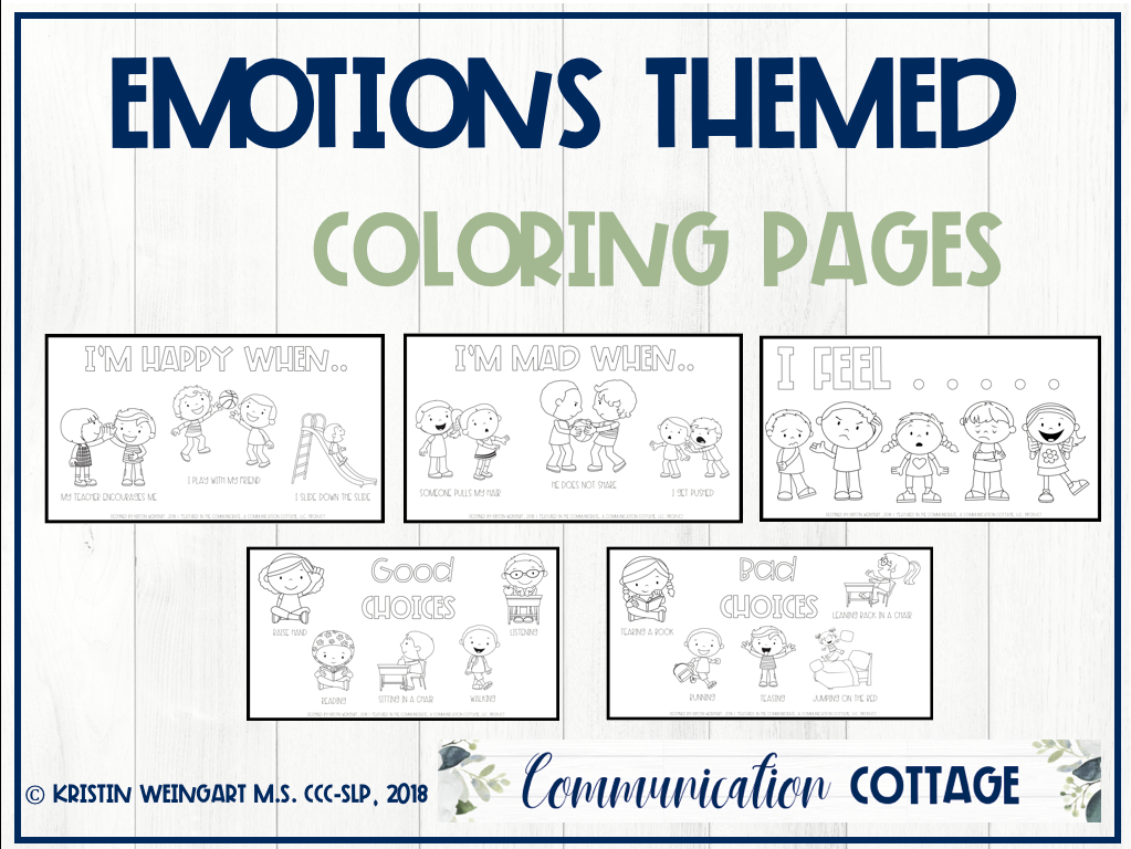 Emotions Coloring Pages Communication Cottage Llc