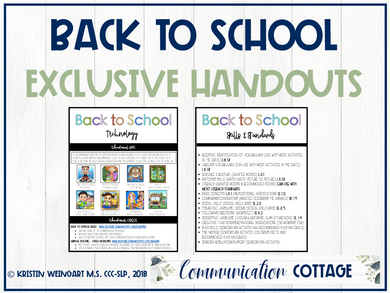 Back to School Exclusive Handouts (PDF)