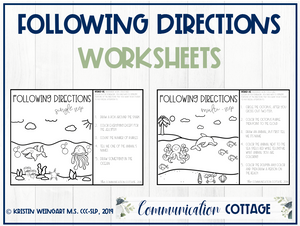Ocean Theme Following Directions Worksheets (PDF)