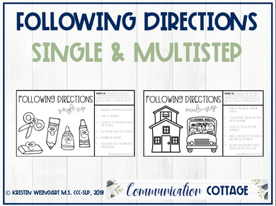 Back to School: Following Directions Worksheets (PDF)