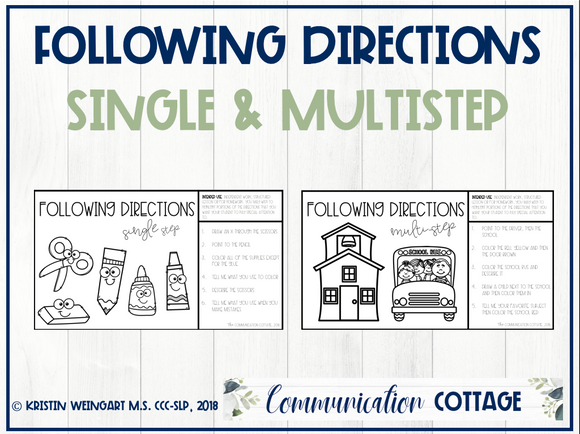 Back to School: Following Directions Worksheets