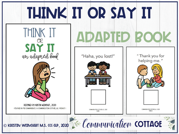 Think It or Say It: Adapted Book