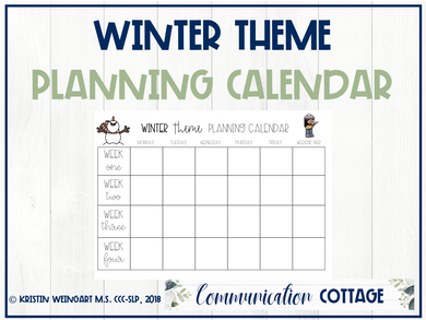 Winter Activities Planning Calendar