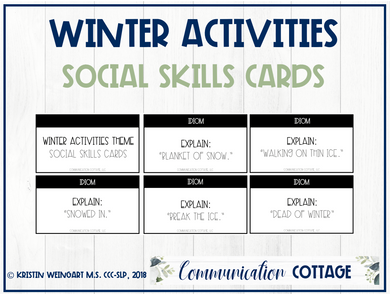 Winter Activities Social Skills Cards