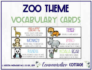 Zoo Vocabulary Cards