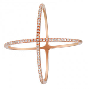 Cross My Finger Band - 14k Rose Gold Diamond X Ring Stylish Stacking