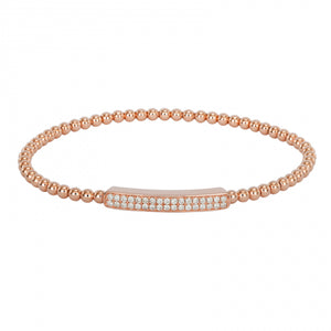 Flexy Bangle Diamond Bar Bracelet -14k Rose Gold Pave Diamond Bar Stretch Ball Bangle Bracelet Stacking