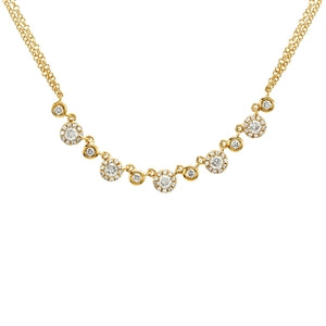 Follow The Leader - Pave Diamond Arrow Long Necklace - 14k Yellow Gold