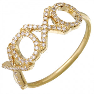 Diamond Hugs and Kisses Ring -  14k Gold Diamond XOXO Ring