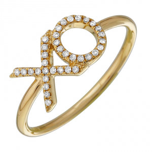 Diamond Hug and Kiss Ring -  14k Gold Diamond XO Ring