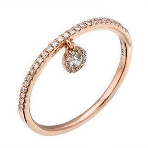 Playful Charm Band - 14k Rose Gold Diamond Ring with Diamond Drop Sparkle