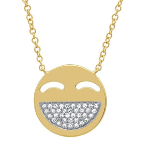 Million $ Smile Emoji - Diamond Emoji Smile Necklace - 14k Yellow Gold
