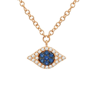 Pave Diamond and Sapphire Evil Eye Necklace - Rose Gold