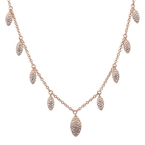 Feather Frills - Diamond  Petals Necklace - 14k Rose Gold