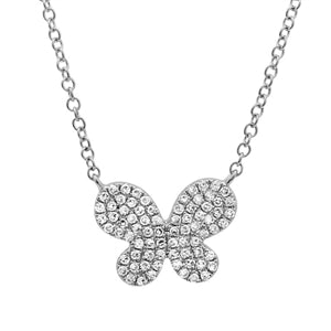Liberty Butterfly - Diamond Butterfly Pendant Necklace - 14k White Gold
