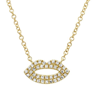 Diamond Kiss - Diamond Lips Necklace - 14k Yellow Gold