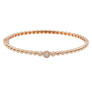 Balls and Baubles Bangle - 14k Rose Gold Diamond Ball Bangle Bracelet