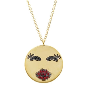 Emoji Kiss Kiss -Diamond and Ruby Kissing Face Necklace - 14k Yellow Gold