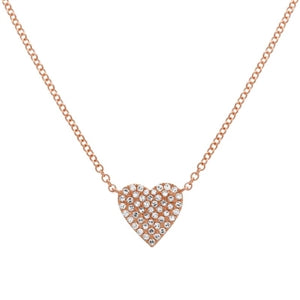 Hearts A Flutter Necklace - Diamond Dainty Heart Necklace -14k  Yellow Gold