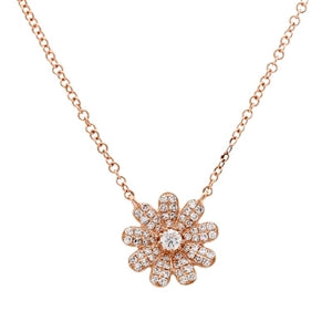 Diamond Flower - Pavé Diamond Flower Pendant Necklace - 14k Rose Gold