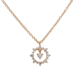 The Center of The Sun Necklace-Diamond  Sun Necklace - 14k Rose Gold