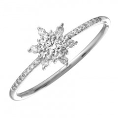 The Frozen Ring -  14k Gold and Diamond Ring with Snowflake Diamond Cluster