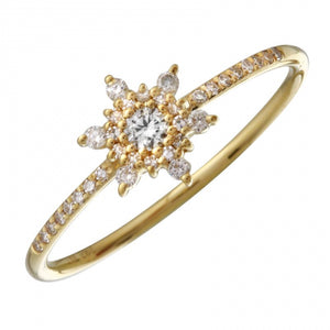 Diamond Power Ring -  14k Yellow Gold and Diamond Ring with A Star, Sun or Snowflake Diamond Cluster